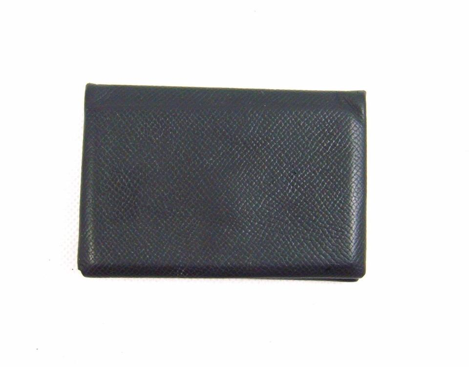 Herms black calvi leather business card holder case france wallet herms black calvi leather business card holder case france wallet colourmoves Gallery