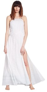 White Blue Ombre Maxi Dress by Free People Cotton