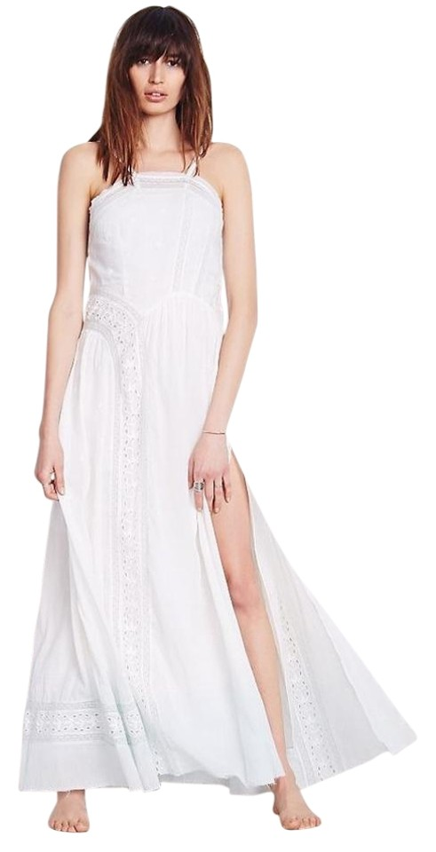 Free People White Blue Ombre Lady Jane Slip Long Casual Maxi Dress