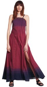 Purple Navy Ombre Maxi Dress by Free People Lace Cotton