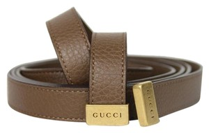 Gucci New Gucci Women's Brown Leather Tie On Belt w/Logo 85/34 309899 2527