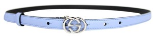 Gucci New GUCCI Leather Skinny Belt Interlocking G Buckle 90/36 370552 4503