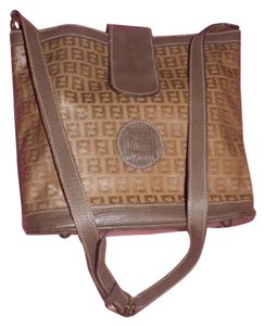 Fendi Popular Style Satchel in dark yellow small F logo print canvas & brown textured leather
