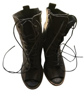 AllSaints Leather Open Toe Lace Up Black Grey/Black Boots
