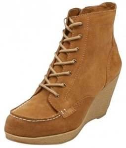 BC Footwear Wedge Zipper Suede Work Urban Street Boho Ankle Leather Zip Up Brown Boots