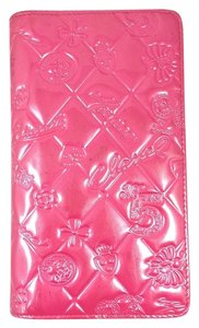 Chanel Pink Symbol Charm Icon Patent Leather Long Clutch Wallet Italy