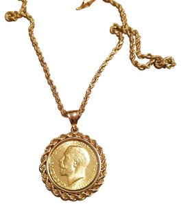 Solid 14k Gold Necklace and Coin Pendant Solid 14k Gold Necklace and Pendant