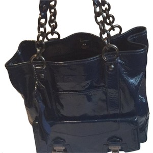 Coach Patent Leather Tote in Deep Blue