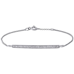 Jewelry For Less 14k White Gold Round Diamond Bar Bracelet Inch Ladies Rolo Chain Link 0.15 Ct.