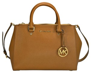 Michael Kors Mk Saffiano Leather Satchel in Luggage Brown/Gold