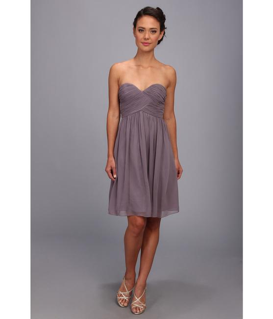 "Item - ""Grey Ridge"" (Purple Grey) Chiffon Silk Sweetheart Strapless Formal Bridesmaid/Mob Dress Size 4 (S)"