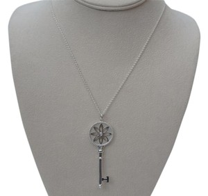 Tiffany & Co. Large Silver Diamond Daisy Key Pendant & 18