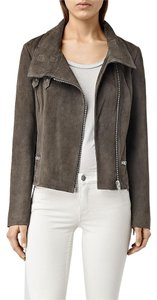 AllSaints Suede Moto Granite Grey Leather Jacket