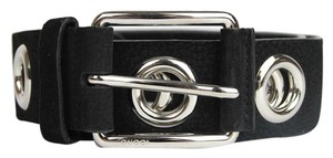Gucci New Gucci Women's Black Leather Belt with Open Studs 85/34 370541 1000