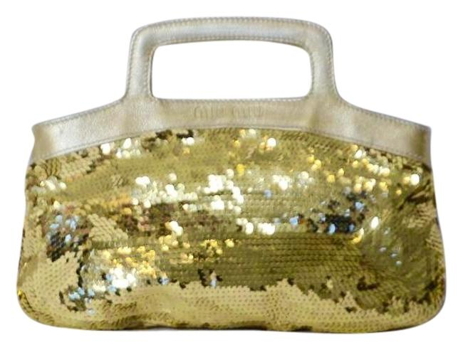 Item - Evening Handbag Size Small Sh Gold Leather/Sequins Clutch