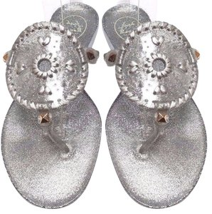 Jack Rogers High-gloss Finish Synthetic Jelly Flip Flop Sparkle Silver Sandals