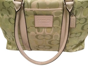 Coach Medium Size Canvas Leather Green / white Travel Bag