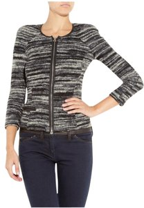 Isabel Marant Wool Leather Boucle Cardigan Gray Jacket