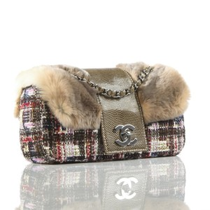 Chanel Fur Tweed Limited Edition Paris Hilton Lizard Shoulder Bag