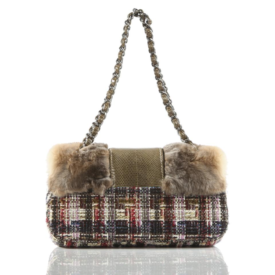 b5ab8271d847 Chanel Limited Edition & Lizard Multi-color Brown Faux Fur Tweed Shoulder  Bag