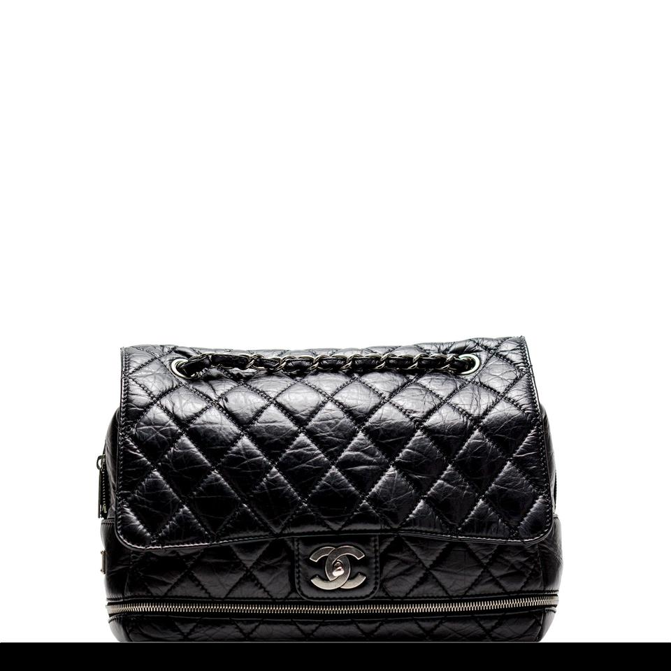 c2527456597 Chanel Classic Flap Paris New York Pny Jumbo Expandable Calfskin Maxi Black  Leather Shoulder Bag - Tradesy