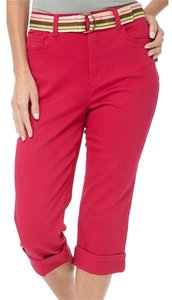 Gloria Vanderbilt New With Tag Pants Belted Cropped Stretch 6 S Short Capris pink