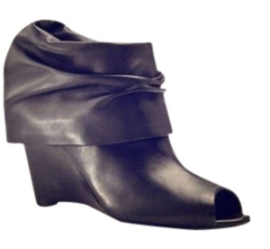 BCBG Paris Wedge Shootie Slouch Peep Toe Sandal Leather Ruched Smooth Sexy Avant Garde Designer Street Black Boots