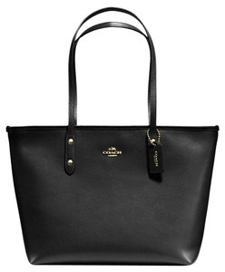 Coach Shoulder Tote in Black/Gold Tone
