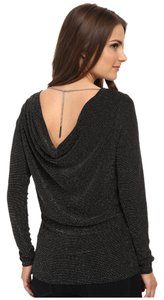 Michael by Michael Kors Silver Cowlback Top Black