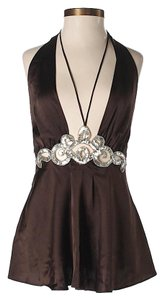 Ingwa Melero Silk Embellished Brown Halter Top