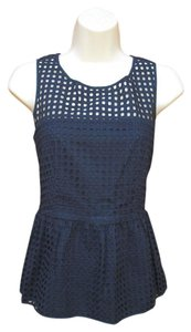 Banana Republic Eyelet Peplum Summer Top Blue