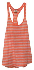 PINK Top Neon Orange and White Stripes