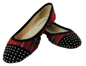 Gianni Bini Ballet Red Suede Grace Red Plaid Flats
