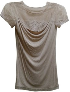 Valentino Red Lace Draped Neckline T Shirt Light Beige