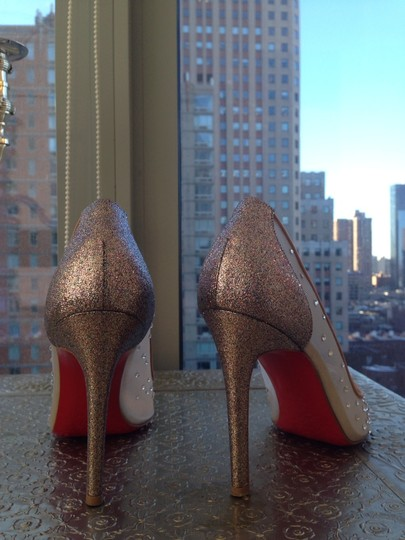 Christian Louboutin Crystal Party Stiletto Mesh Silver Glitter Grenadine Pumps