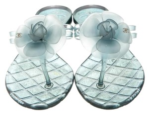 Chanel Jelly Camellia Blue, Silver Sandals