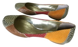 BCBG Paris Reptile Metallic Patchwork Gold Multi Flats