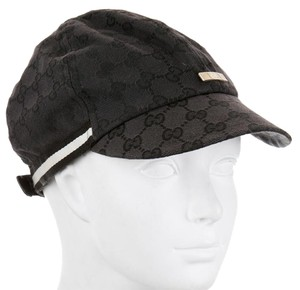 Gucci Black canvas Gucci Guccissima monogram cap hat M sz