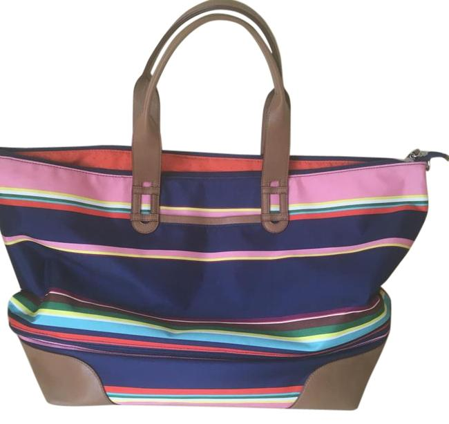 Item - Multi Colored Stripes Fabric Leather Weekend/Travel Bag
