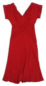 Diane von Furstenberg short dress Red Pleated Short Sleeve on Tradesy