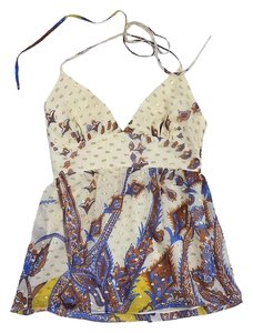 Tibi Cream Multi Color Paisley Halter Top