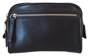 Coach Coach Black Leather Cosmetic Case Mini Clutch with Silver Hardware