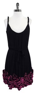 Yoana Baraschi short dress Black Pink Ruffled Hem on Tradesy