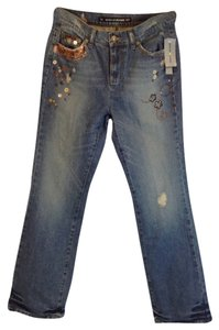 DKNY Embellished Embroidered Boho Boyfriend Cut Jeans-Medium Wash