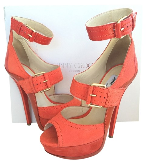 Jimmy Choo Sandal Sandals Strappy Straps Open Toe Peep Toe Buckled Buckles Nubuck Leather Suede Stiletto Soles Rubber Exclusive Coral Platforms
