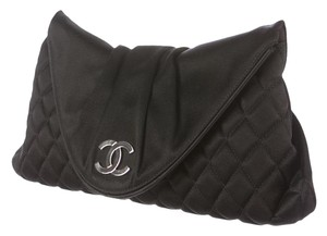 Chanel Quilted Half Moon Black, Silver Clutch