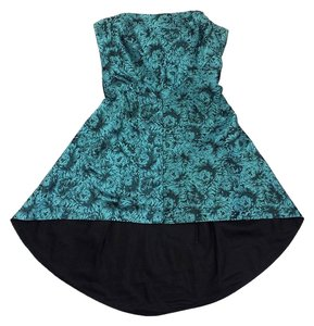 Nicole Miller short dress Teal Black Floral Hi Lo Strapless on Tradesy
