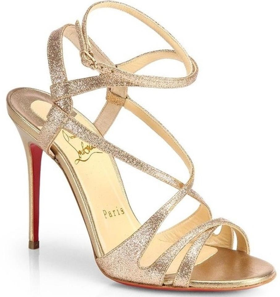 fe398398 Christian Louboutin Audrey Glitter Crisscross Strappy High Heel 7.5 37.5  Evening Party Gold, Poudre Sandals ...