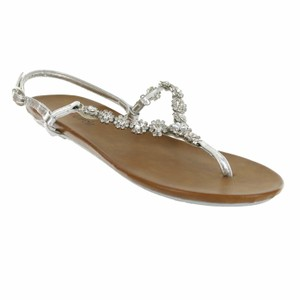 Red Circle Footwear Flat Thong Ornament Blingbling Silver Sandals