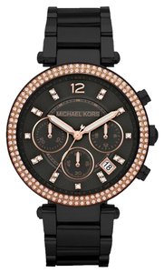 Michael Kors Nwt Michael kors womens Parker black and rose gold tone watch